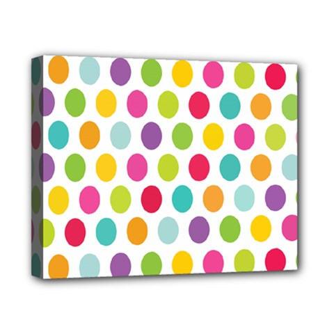 Polka Dot Yellow Green Blue Pink Purple Red Rainbow Color Canvas 10  X 8  by Mariart