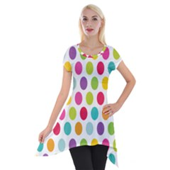 Polka Dot Yellow Green Blue Pink Purple Red Rainbow Color Short Sleeve Side Drop Tunic by Mariart