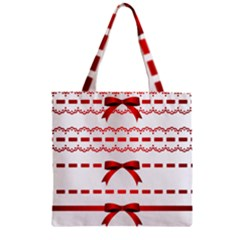 Ribbon Red Line Zipper Grocery Tote Bag by Mariart