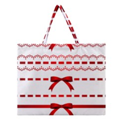 Ribbon Red Line Zipper Large Tote Bag by Mariart