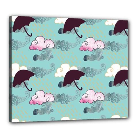 Rain Clouds Umbrella Blue Sky Pink Canvas 24  X 20  by Mariart