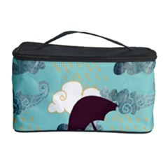 Rain Clouds Umbrella Blue Sky Pink Cosmetic Storage Case by Mariart