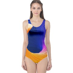 Wave Waves Chefron Color Blue Pink Orange White Red Purple One Piece Swimsuit