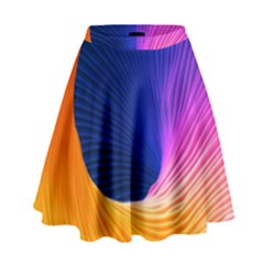 Wave Waves Chefron Color Blue Pink Orange White Red Purple High Waist Skirt by Mariart