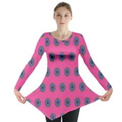 Polka Dot Circle Pink Purple Green Long Sleeve Tunic  by Mariart