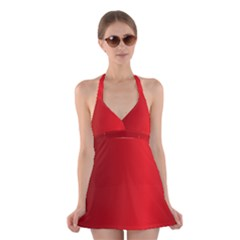 Red Gradient Fractal Backgroun Halter Swimsuit Dress by Simbadda
