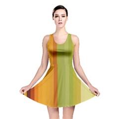 Colorful Citrus Colors Striped Background Wallpaper Reversible Skater Dress by Simbadda