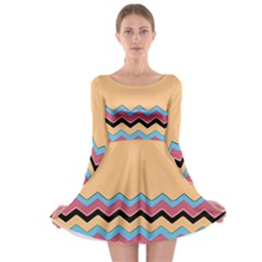 Chevrons Patterns Colorful Stripes Background Art Digital Long Sleeve Skater Dress