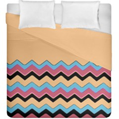 Chevrons Patterns Colorful Stripes Background Art Digital Duvet Cover Double Side (king Size) by Simbadda