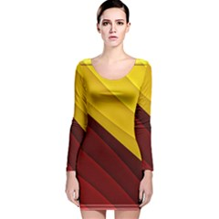 3d Glass Frame With Red Gold Fractal Background Long Sleeve Velvet Bodycon Dress by Simbadda