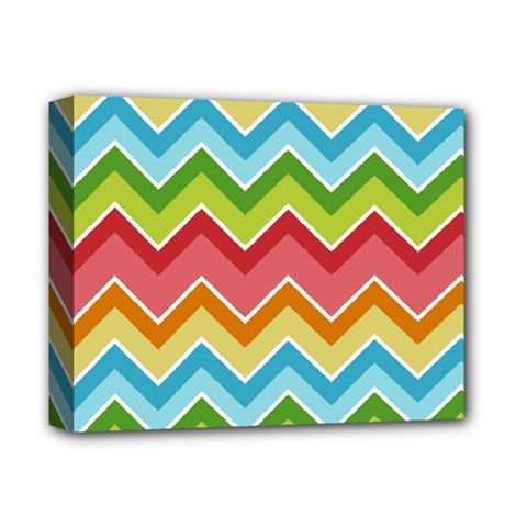 Colorful Background Of Chevrons Zigzag Pattern Deluxe Canvas 14  X 11  by Simbadda