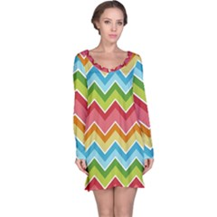 Colorful Background Of Chevrons Zigzag Pattern Long Sleeve Nightdress