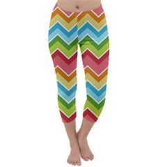Colorful Background Of Chevrons Zigzag Pattern Capri Winter Leggings