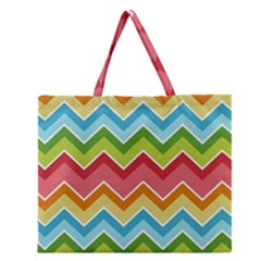 Colorful Background Of Chevrons Zigzag Pattern Zipper Large Tote Bag by Simbadda
