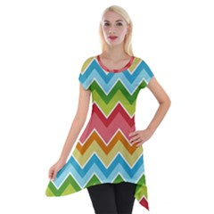 Colorful Background Of Chevrons Zigzag Pattern Short Sleeve Side Drop Tunic
