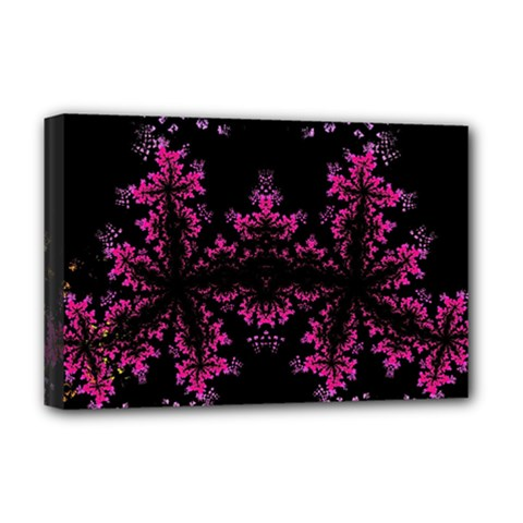 Violet Fractal On Black Background In 3d Glass Frame Deluxe Canvas 18  X 12   by Simbadda