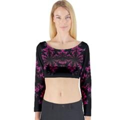 Violet Fractal On Black Background In 3d Glass Frame Long Sleeve Crop Top