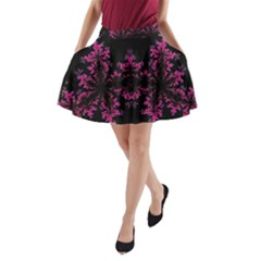 Violet Fractal On Black Background In 3d Glass Frame A Line Pocket Skirt by Simbadda