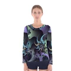 Fractal Image With Sharp Wheels Women s Long Sleeve Tee by Simbadda