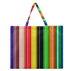 Stripes Colorful Striped Background Wallpaper Pattern Zipper Large Tote Bag by Simbadda