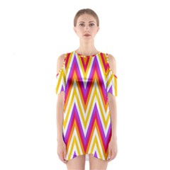 Colorful Chevrons Zigzag Pattern Seamless Shoulder Cutout One Piece