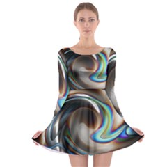 Twirl Liquid Crystal Long Sleeve Skater Dress