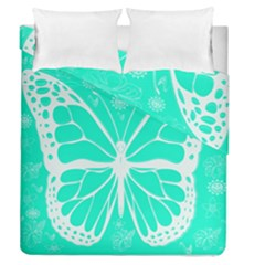 Butterfly Cut Out Flowers Duvet Cover Double Side (queen Size) by Simbadda