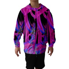Fractal In Bright Pink And Blue Hooded Wind Breaker (Kids) by Simbadda
