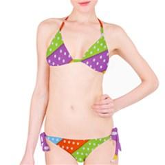 Colorful Easter Ribbon Background Bikini Set by Simbadda