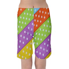 Colorful Easter Ribbon Background Kids  Mid Length Swim Shorts by Simbadda