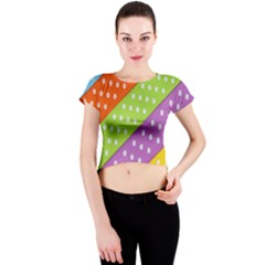 Colorful Easter Ribbon Background Crew Neck Crop Top by Simbadda