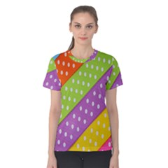 Colorful Easter Ribbon Background Women s Cotton Tee by Simbadda