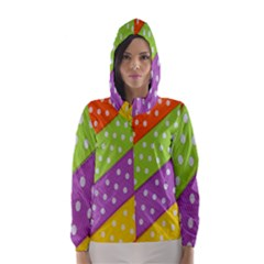 Colorful Easter Ribbon Background Hooded Wind Breaker (Women) by Simbadda