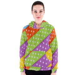 Colorful Easter Ribbon Background Women s Zipper Hoodie by Simbadda