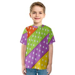 Colorful Easter Ribbon Background Kids  Sport Mesh Tee by Simbadda