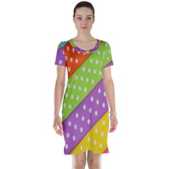 Colorful Easter Ribbon Background Short Sleeve Nightdress by Simbadda
