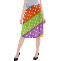 Colorful Easter Ribbon Background Midi Beach Skirt by Simbadda