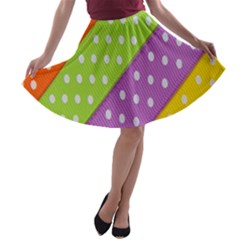Colorful Easter Ribbon Background A Line Skater Skirt by Simbadda