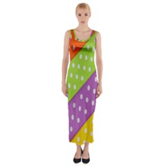 Colorful Easter Ribbon Background Fitted Maxi Dress by Simbadda
