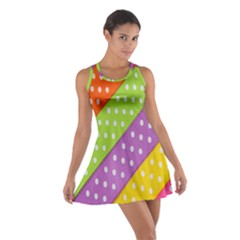 Colorful Easter Ribbon Background Cotton Racerback Dress