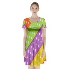 Colorful Easter Ribbon Background Short Sleeve V Neck Flare Dress by Simbadda