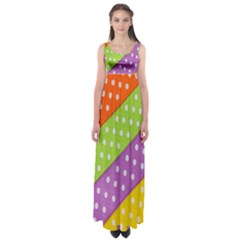 Colorful Easter Ribbon Background Empire Waist Maxi Dress