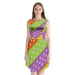 Colorful Easter Ribbon Background Sleeveless Chiffon Dress   by Simbadda