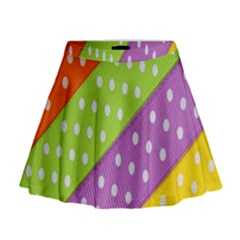 Colorful Easter Ribbon Background Mini Flare Skirt by Simbadda