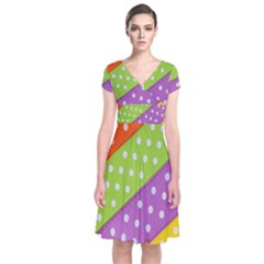 Colorful Easter Ribbon Background Short Sleeve Front Wrap Dress