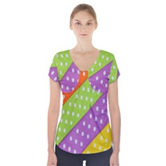 Colorful Easter Ribbon Background Short Sleeve Front Detail Top by Simbadda
