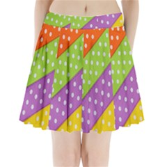 Colorful Easter Ribbon Background Pleated Mini Skirt by Simbadda