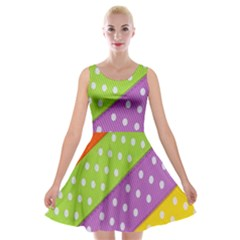 Colorful Easter Ribbon Background Velvet Skater Dress by Simbadda
