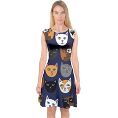 Cat  Capsleeve Midi Dress by BubbSnugg