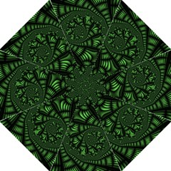 Fractal Drawing Green Spirals Hook Handle Umbrellas (medium) by Simbadda